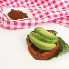 Brown rice burger patties and a sticky sweet BBQ sauce