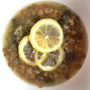 Sour lentil kale soup