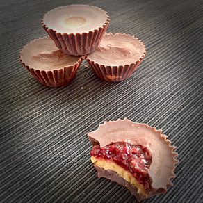 Raspberry jam peanut butter chocolate cups