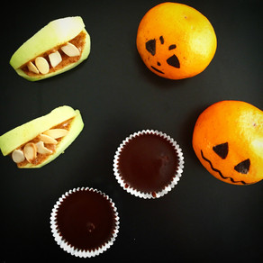 My favorite healthy Halloween treats including raw chocolate coconut cups and guacamole