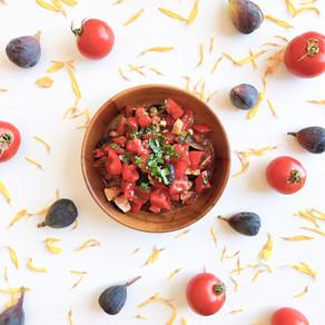 Tomato fig salad with garlicky balsamic vinaigrette