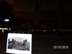 This photo of a ire is black and white, yet it shows orange flames in the photo!