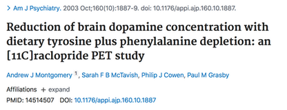 Reduction of brain dopamine concentration with dietary tyrosine plus phenylalanine depletion: an [11C]raclopride PET study