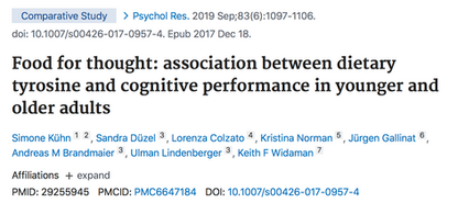 Food for thought: association between dietary tyrosine and cognitive performance in younger and older adults