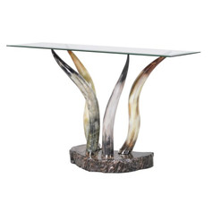 Glass and Horn Console Table