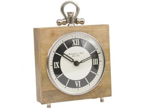 Wood And Nickel Square Mantel Clock