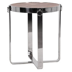 Steel and Elm Round End Table