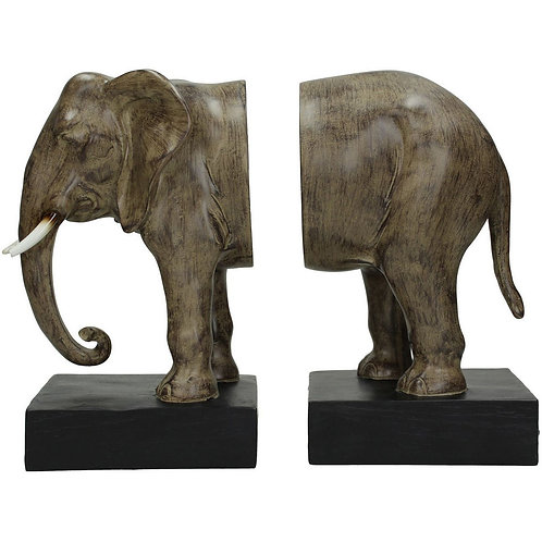 Brown And Black Elephant Resin Bookends