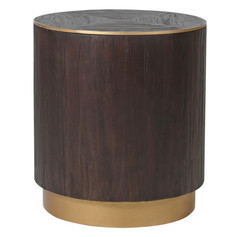 Elm and Copper Round Lamp Table