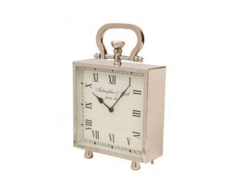 Large Nickel Mantel Clock