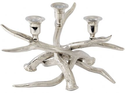 Antler Nickel Three Dinner Candle Holder