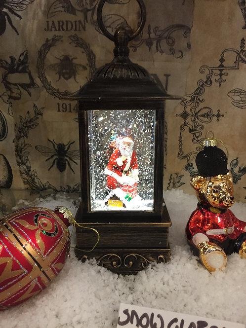 Santa on Chimney Lantern Glitter Globe