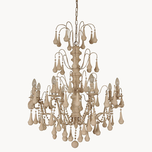 White Iron and Wood Chandelier