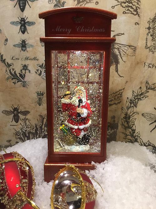Santa Phonebox Glitter Globe