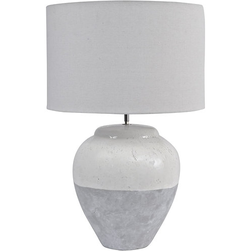 Grey Porcelain Table Lamp and Shade - Large