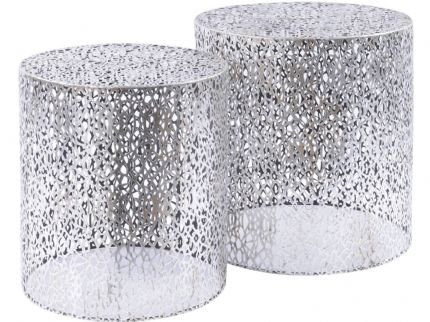 Silver Fret-Work Style Table Nesting Tables