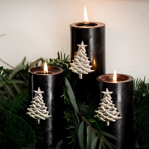 Set of Three Christmas Tree Candle Pins
