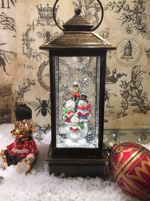 Singing Snowmen Lantern Glitter Globe
