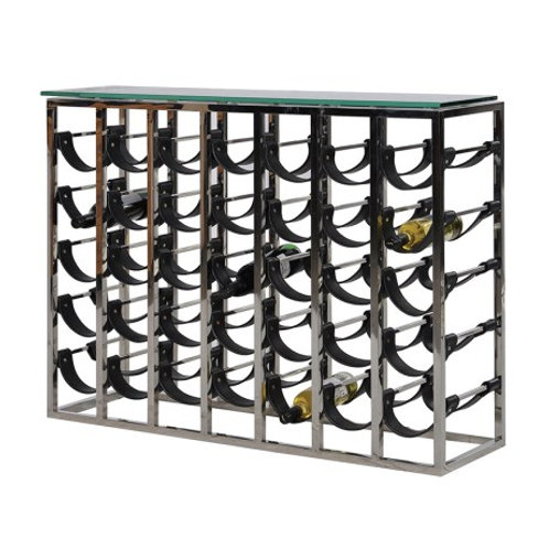 Leather and Metal Wine Rack with Glass Top