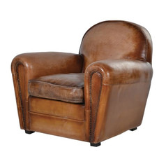 Brown Leather Deco Armchair