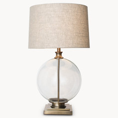 Gold and Glass Round Lamp with Beige Shade