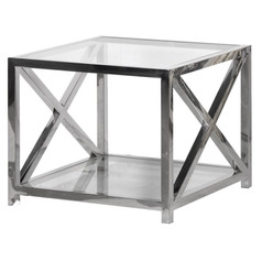Square Glass and Steel End Table