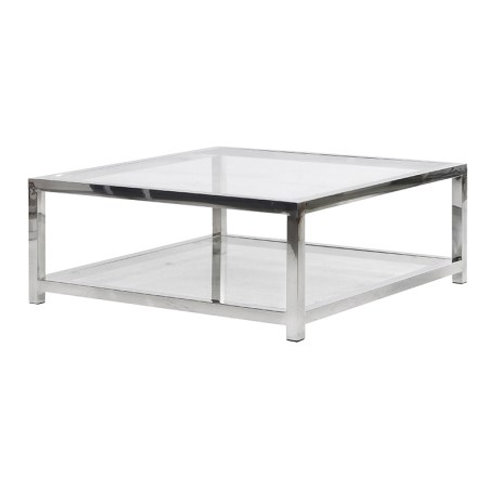 Square Glass/Steel Coffee Table