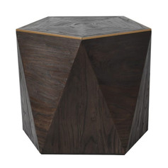 Gold and Elm End Table