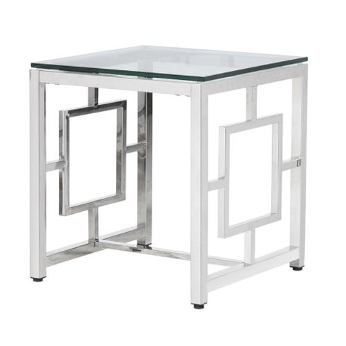 Glass and Chrome End Table