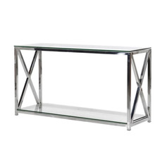 X Frame Glass and Steel Console Table