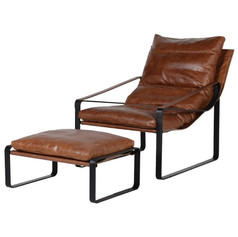 Brown Leather Relaxer Chair and Stool