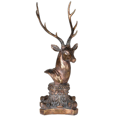 Golden Deer Head On Stand