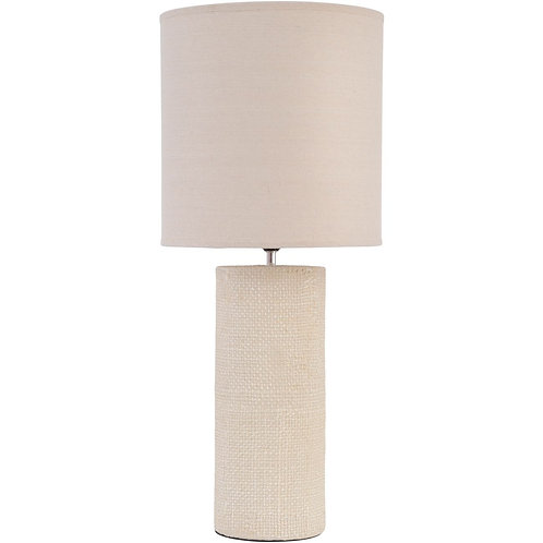 Tall Cream Textured Porcelain Table Lamp With Shade
