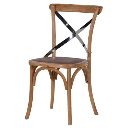 Pair of Natural Dining Chair Steel X-Back