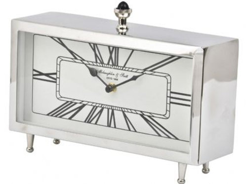 Nickel Rectangular Table Clock