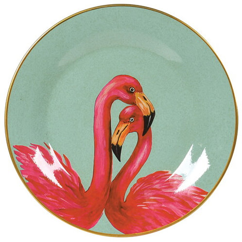 Decorative Wall Hanging Plate with Pair of Flamingos