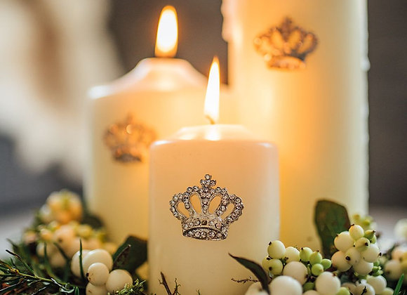 Set of Three Coronation Crown Candle Pins