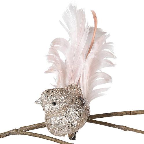 Champagne Clip on Bird Decoration
