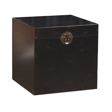 Square Black Wooden Trunk