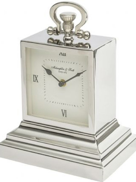 Small Aluminium Rectangular Clock with Roman Numerals