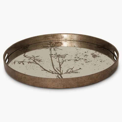Round Tray with Botanical Pattern