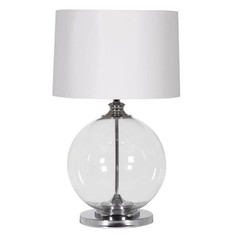 Glass Ball Lamp with White Shade