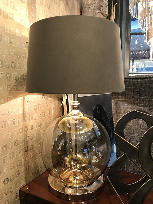 Cognac Ball Lamp with Soft Brown Shade Gold Lining