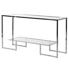 Steel Console Table with Glass Shelf