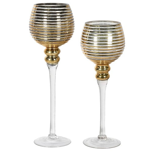 Set of 2 Gold Ribbed Candle Holders