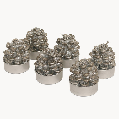 Silver Pinecone T Light Candles
