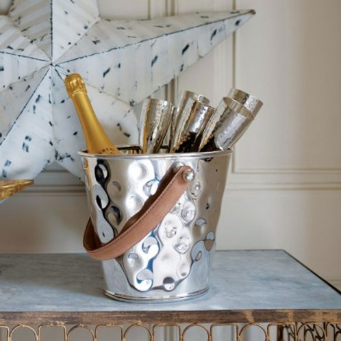 Leather Handled Wine Cooler & Six Baseless Flutes