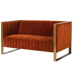 Burnt Orange Ribbed Seater Sofa