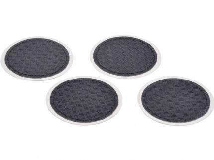 Black Leather Set Of 4 Coasters