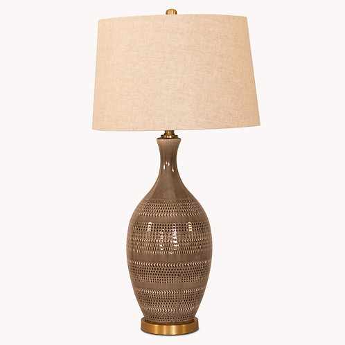 Textured Ceramic Lamp with Natural Linen Shade